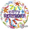 "18"" Birthday Stars & Streamers  Mylar Foil Balloon"