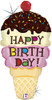 "33"" Birthday Ice Cream Cone Shape Mylar Foil Balloon"