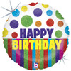 "18"" Happy Dots Birthday  Mylar Foil Balloon"