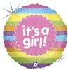 """18"""" It's A Girl Rainbow Stripes  Mylar Foil Balloon"""