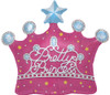 "25"" Pretty Princess Crown Shape Mylar Foil Balloon"