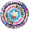 "18"" Birthday Repeat Cupcake  Mylar Foil Balloon"