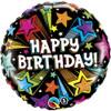 "18"" Birthday Colorful Shooting Stars  Mylar Foil Balloon"