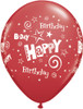 "11"" Birthday Stars and Swirls Standard Red Latex Balloons"