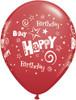 """11"""" Birthday Stars and Swirls Standard Red Latex Balloons"""