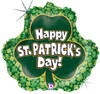 "18"" St Patrick's Shamrock  Mylar Foil Balloon"