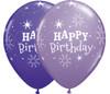 "11"" Birthday Sparkle Purple Violet & Spring Lilac Assortment Latex Balloons"