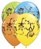 "11"" Mischievous Monkeys Assortment Latex Balloons"