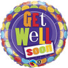 "18"" Get Well Dot Pattern  Mylar Foil Balloon"
