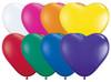 "6"" Hearts Jewel Assortment Latex Balloons - Bag of 100"