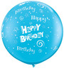 "36"" (3') Birthday Stars and Swirls - Robin's Egg Blue Latex Balloon"