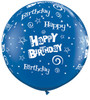 "36"" (3') Birthday Stars and Swirls - Sapphire Blue Latex Balloon"