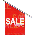 SALE Flag white on red - set of Flag printed SALE double sided, pole & cap - bush and mounting plate