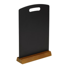 •  Double side chalk surface ideal for use in caf�s and restaurants. •  Full length detachable oak tray. •  Easy to change information. •  Just erase and rewrite unlike paper based menus.