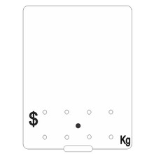 White Food Ticket 90 by 120 mm with black $.Kg