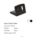 Black plastic ticket holder