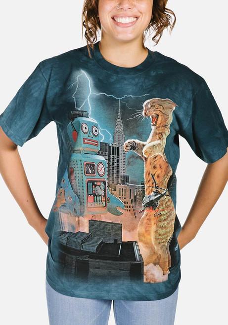Catzilla vs. Robot T-Shirt Modeled