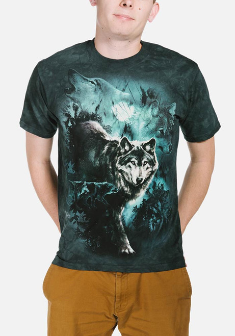 Night Wolves Collage T-Shirt Modeled