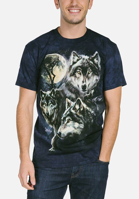 Moon Wolves Collage T-Shirt Modeled