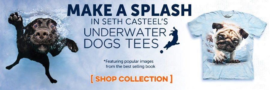 Make a splash with Seth Casteel's Underwater Dogs T-Shirts
