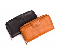 Tony Perotti Womens Italian Cow Leather Grande Zip-Around Clutch Wallet with ID Window