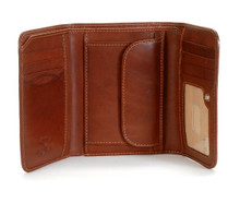 Tony Perotti Mens Italian Cow Leather Trifold Clutch Wallet with ID and Coin Pouch