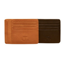 Tony Perotti Mens Italian Cow Leather Slim Front Pocket Weekend Wallet with Coin Pouch