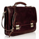 Rimini Double Compartment Italian Leather Briefcase | Front Angle with Strap | Color Brown