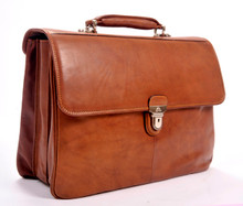 Tony Perotti Mens Italian Cow Leather Lazio Triple Compartment Laptop Leather Flap-Over Briefcase