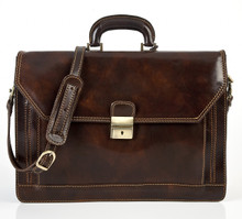 Capri Triple Compartment Flap Over Briefcase | Front | Color Dark Brown