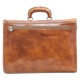 Capri Triple Compartment Flap Over Briefcase | Tan | Back Zipper compartment
