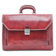 Capri Triple Compartment Flap Over Briefcase | Front | Color Red