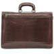 Capri Triple Gusset Flap Over Briefcase | Zipper compartment Back | Color Brown