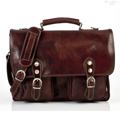 Parma Laptop Leather Messenger Bag| Front | Color Brown