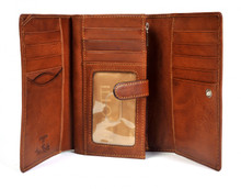Tony Perotti Womens Italian Cow Leather Trifold Euro Clutch Wallet with ID Window and Coin Pouch