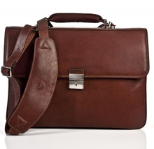 Leather Briefcase | Brown | Flap over with Pigskin Lining