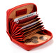 Handmade Italian Leather Wallet | Red | Open