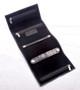 Handmade Italian Leather Jewelry Roll   Black   Open