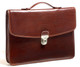 Handmade Italian Leather Briefcase | Brown | Front