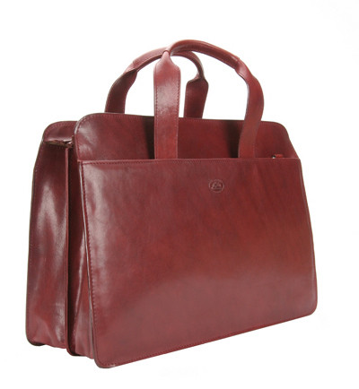 Handmade Italian Leather Briefcase | Burgundy | Front
