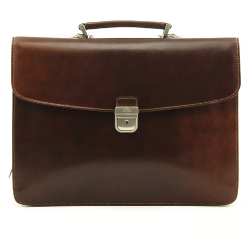 Massimo Bellini Briefcase | Brown | Front