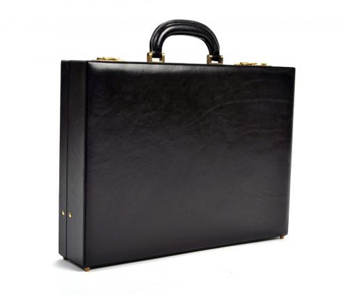 Amalfi Grande Leather Attache Case PI010204 | Color Black | Front