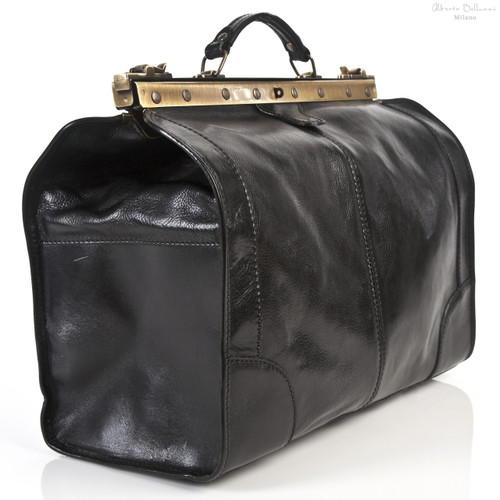 Roma Grande- Travel leather bag - Large size | Back Zipper Compartment | Color Black