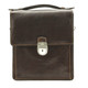 Tony Perotti Italian Leather Rovigo Vertical Flap-Over Carry All Bag - brown