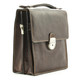 Tony Perotti Italian Leather Rovigo Vertical Flap-Over Carry All Bag - brown side view 3