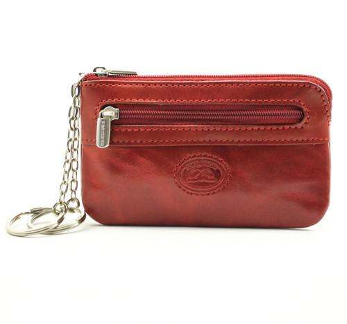 Tony Perotti Italian Leather Zippered Key Case - red