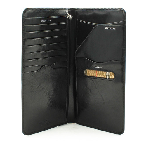 Tony Perotti Italian Leather Ultimate Travel Business Wallet - open view