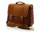 Muiska Lucas - Laptop Compatible Leather Messenger Bag - Front View, Saddle