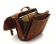 Muiska Lucas - Laptop Compatible Leather Messenger Bag - Side Open View, Saddle
