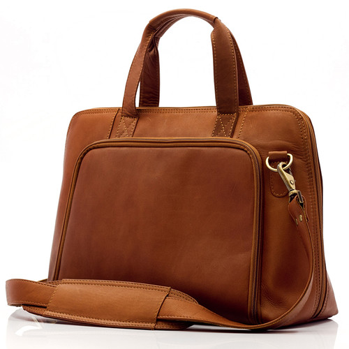 Muiska Ivanka - Women's Leather Business Briefcase - Front View, Saddle